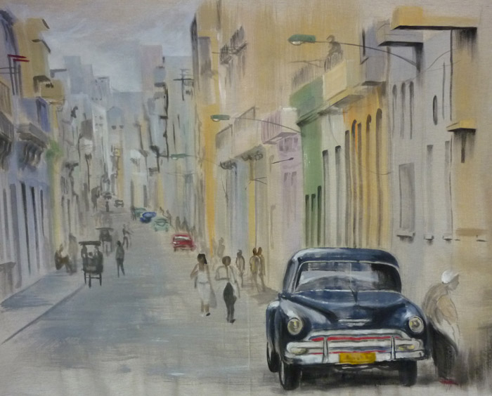 Début de la fresque cubaine avec une vue de rue typique