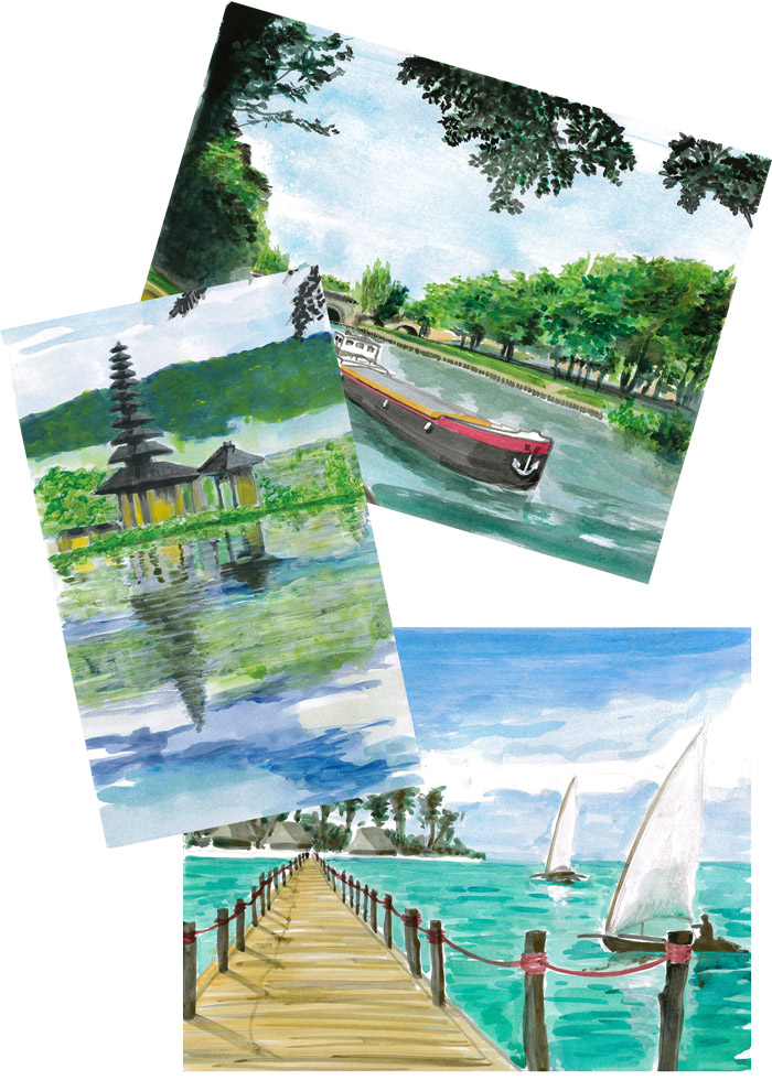 Le thème imposé : 3 îles de 3 continents : Bali, île du Fort à Meulan et Zanzibar. Maquettes acrylique sur papier