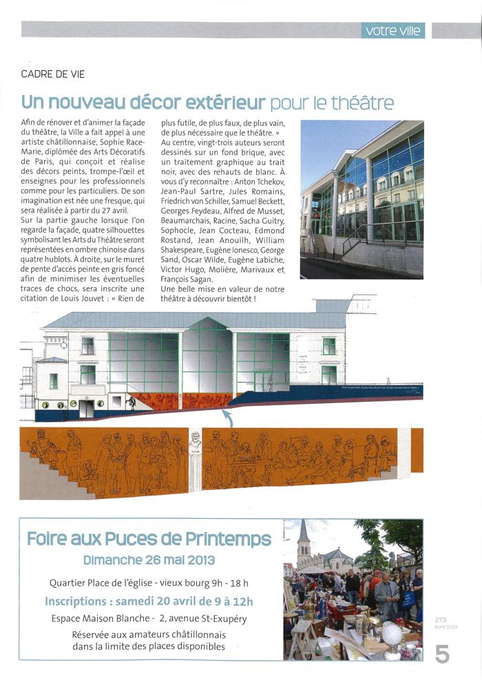 Article annonçant les travaux de rénovation du théâtre dans le N° 273 Avril 2013 du Magazine municipal d'information de la ville de Châtillon.