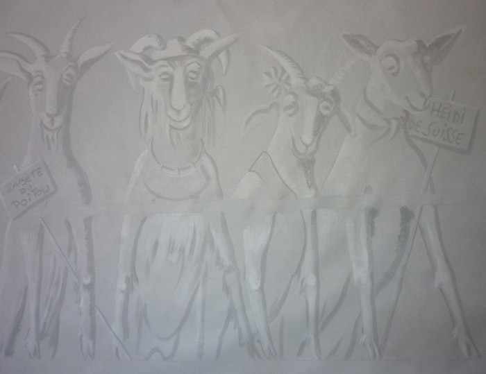 On a opté pour un troupeau de chèvres réalisé en effet grisaille.