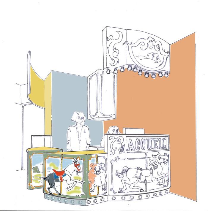 Pour ce cabinet dentaire exclusivement dédié aux petits patients, le ton est donné dès l'accueil avec une banque carrousel d'autrefois