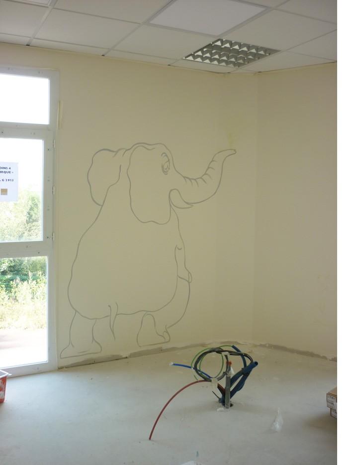 L'éléphant est déjà en place.