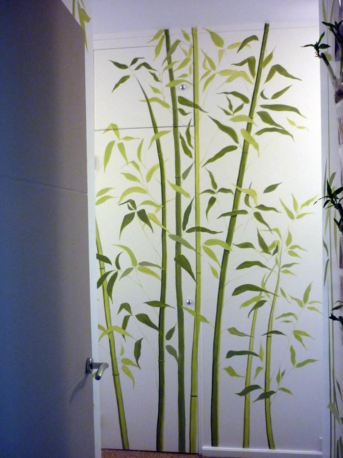 Déco à la peinture effet  bambous
